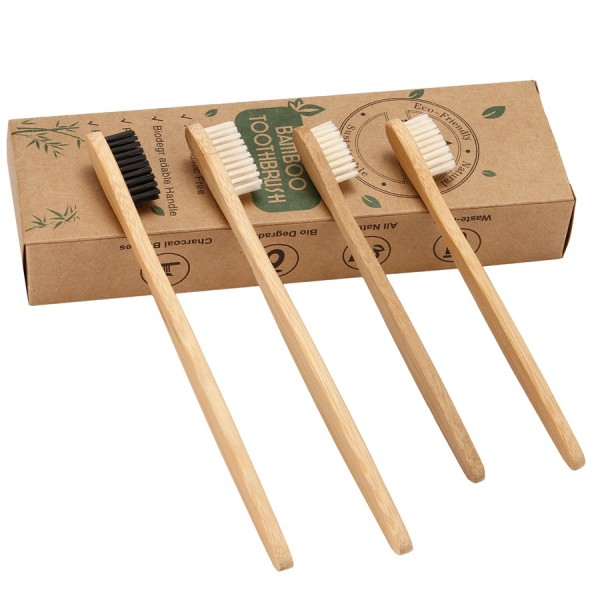 Biodegradable Eco-Friendly Bamboo Toothbrush/Bamboo Charcoal Toothbrush - Pack Of 4