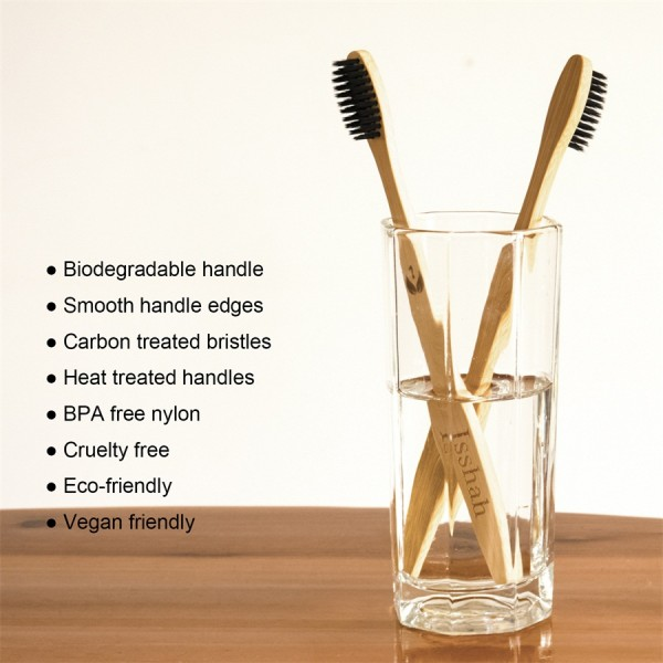 Isshah Biodegradable Eco-Friendly Natural Compostable Bamboo Toothbrush - Pack Of 8