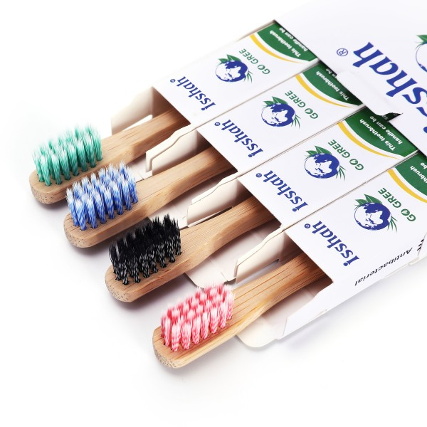 Isshah Children Size Biodegradable Handle BPA Free Eco Friendly Kids Natural Bamboo Toothbrush, Pack of 4 (Germany Imported Spiral Soft Nylon Bristles)