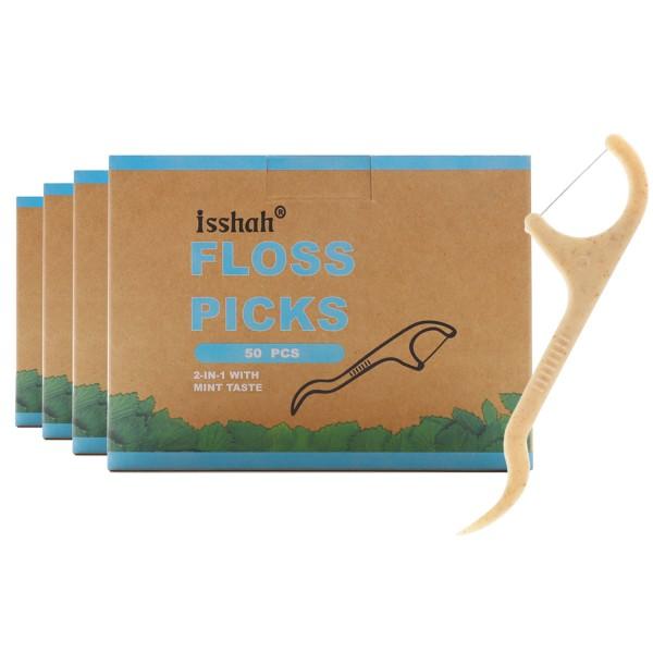 Natural Dental Floss Picks - 200 Count - BPA Free,...